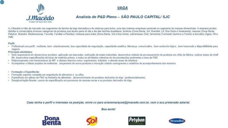 J MACEDO, PESQUISA, DESENVOLVIMENTO, inovação, P&D, vaga, carreira,